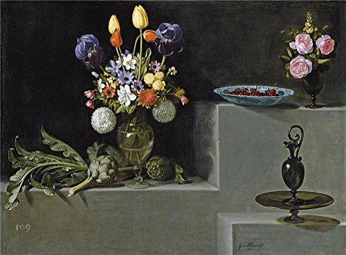 Soup Wallpaper Border (Oil Painting 'Hamen Y Leon Juan Van Der Still Life With Artichokes Flowers And Glass Vessels 1627' 20 x 27 inch / 51 x 69 cm , on High Definition)