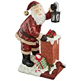 Christmas Decorations – Raising The Roof With Santa Claus Statue with Christmas Toys and Metal Lantern For Sale