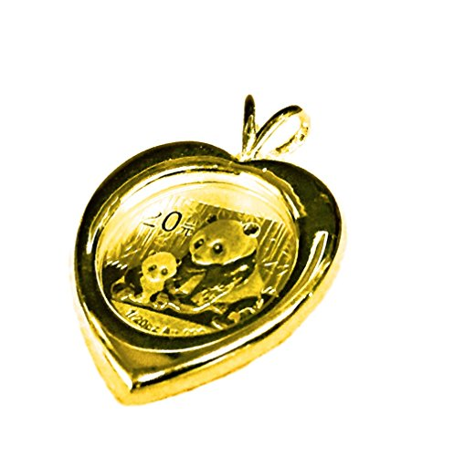 - 24K Chinese Panda Bear Coin in 14K Solid Yellow Gold Heart Coin Charm Pendant-Random Year Coin