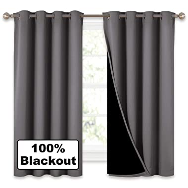 NICETOWN 100% Blackout Curtains with Black Liners, Solid Home Decor Thermal Insulated Full Blackout 2-Layer Lined Drapes, Energy Efficiency Window Draperies for Bedroom (Grey, 2 Panels, 52 W by 63 L)