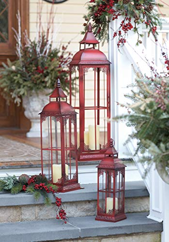 Set of 3 Extra Tall Red Candle Lanterns - 19.75, 28 and 37 -