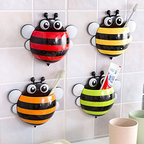 Creative Home Accessories Cartoon Bee Toiletries Toothpaste Holder Bathroom Sets Suction Hooks Tooth Brush Holder - GREEN