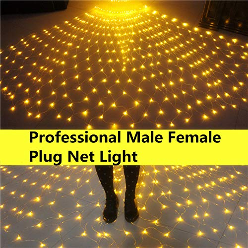 INFILILA Net Lights Mesh Lights for Bushes with Male Female Plug 9.86.6ft 200 Led Professional Outdoor Net Lights for Lighting Project,Christmas,Square,Wedding,Party,Garden,Yard]()