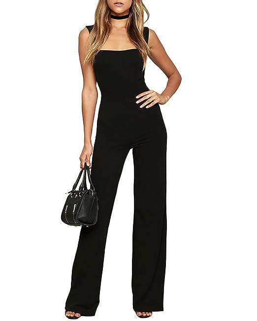 Donna Senza Maniche Lungo Pantaloni Tutine Gamba Larga Eleganti Jumpsuit   Amazon.it  Abbigliamento e8cc2ffab80