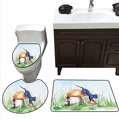 Animal 3 Pc Bath Rug Set Little Cartoon Cat Black in a Mushroom Garden with Leaves and Flowers Artwork Print Rug Contour, Mat and Toilet Lid Cover Multicolor