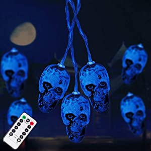 Halloween Decorations 30LEDs Spooky Lights, Halloween Skeleton Skull String Lights Battery Operated for Halloween Party…