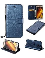 pinlu Schutzhülle Für Samsung Galaxy A5 (2017 Version, 5.2 Zoll) Handyhülle Hohe Qualität PU Ledertasche Brieftasche Mit Stand Function Elefanten Muster Navy Dunkelblau