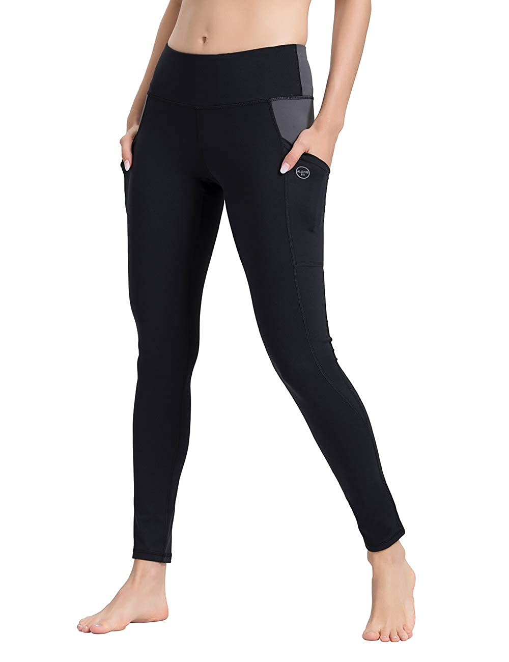 145f022ee27f2 Amazon.com: ALONG FIT Yoga Pants for Women with Phone Pockets, Compression Workout  Leggings Tummy Control Yoga Shorts Capris: Clothing