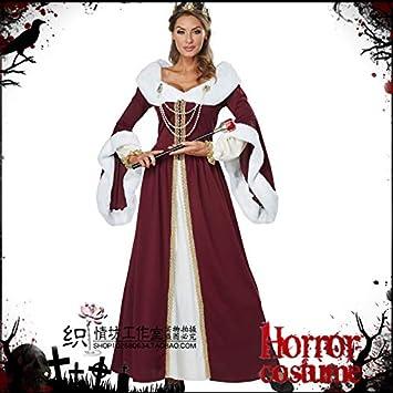 WSJDE Disfraz de Halloween Reina Rey Pareja Hombre Cos Traje Reina Demonio Bruja Disfraz Vampiro Mujer L