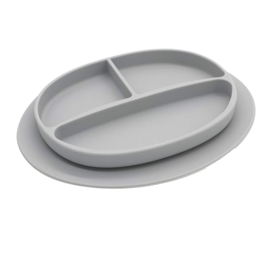 Silicone Suction Plate for Babies–Colorful Divided Baby and Toddler Dinner Plate–Food-Safe, Non-Toxic, and BPA-Free Children's Dish with Bottom Grip–Dishwasher Safe (Soft Gray Color)