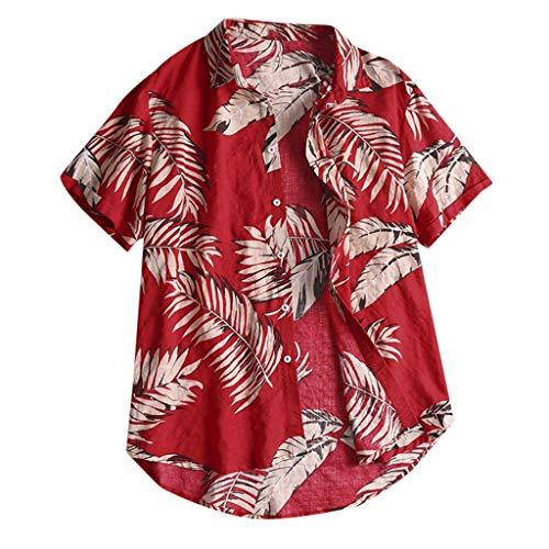 Fashion Hawaiian Print Shirt Men Casual Button Beach Short Sleeve Funny Top (Best Deals For Veterans Day)