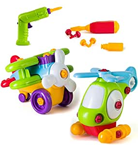 Take Apart Car Boy Toys, Construction Toy Vehicles Build Your Own Game Includes Take A Part Airplane and Helicopter, Power Tool Drill for Kids, STEM Learning Building Toys, 46 Pieces