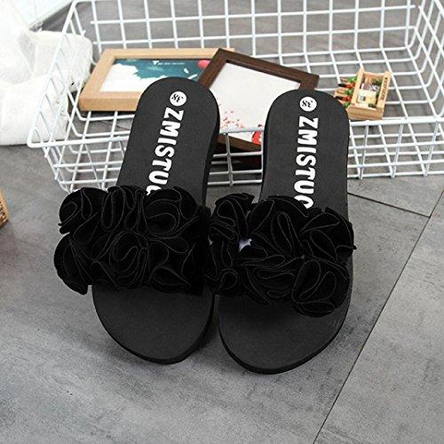 Sandalias Chanclas ❤️ cuña Thong de Negro Sandalis Sexy Mujer Sandals Negro sandalis Adorno Rose imitación de Zha Mujer Diseño Hei único Ba CwxRp8R5