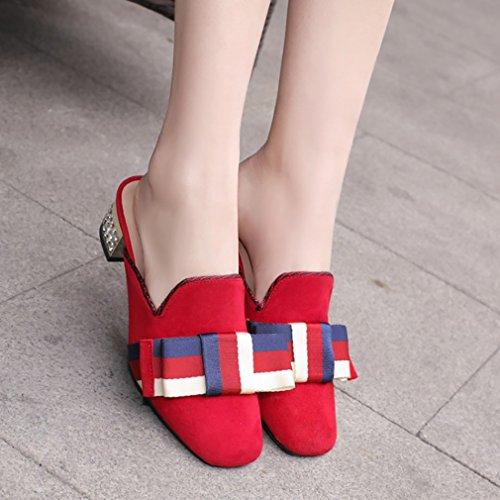 Chaussons Rouge 5CM Tuoxic Calaier Chaussures Sur Bloc 3 Femme Glisser HU1q0xwS