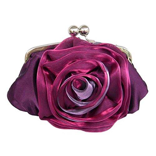 Señora Bolso De Tarde Manera Seda Flor Color De Rosa Bolso Bolso Nuevo Bolso De Hombro Hebilla Magnética Purple