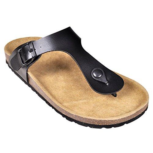 Anself Tieffußbett Pantoletten Sandalen Zehentrenner Größe 40 Schwarz