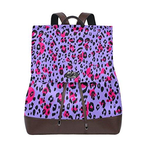 (KUWT Animal Leopard Skin PU Leather Backpack Photo Custom Shoulder Bag School College Book Bag Casual Daypacks Diaper Bag for Women and Girl)