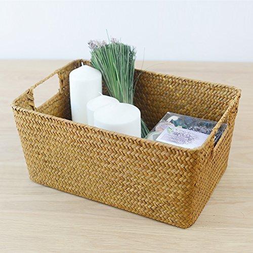 Hand-woven hollow handle receive the cane makes up straw basket box bin bin rural wind Wicker Crafts (Baskets Storage Cane)