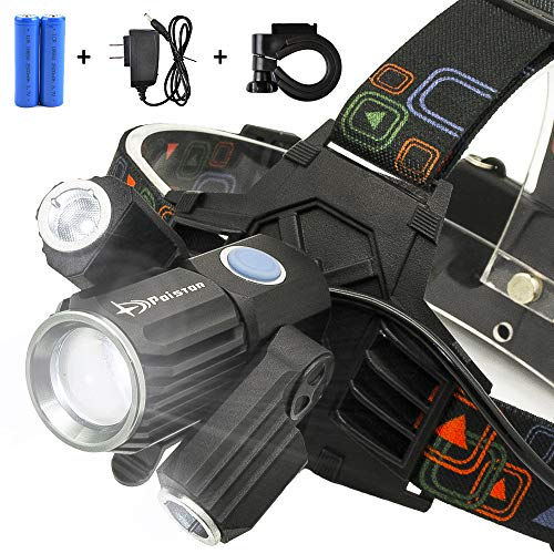 Head Outdoor Garden - LED Rechargeable Headlamp Best Zoomable Flashlight For Biking Hiking Cycling Camping Tactical Game Reading Hunting Use This Head Lights For Fishing Garden Work Outdoors This Head Lamp IPX4 Waterproof