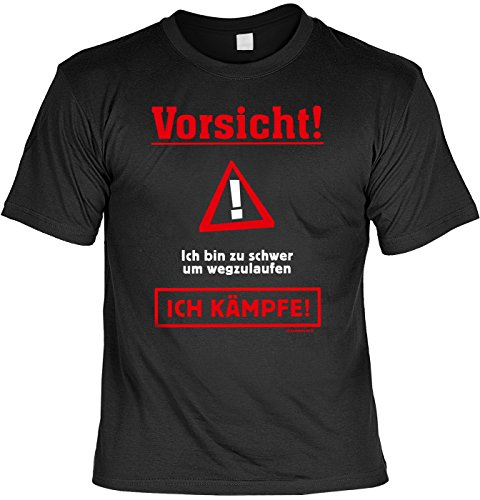 T-Shirt mit Urkunde - Zu schwer um wegzulaufen - Ich kämpfe - Lustiges Sprüche Shirt als Geschenk für Übergewichtige mit Humor