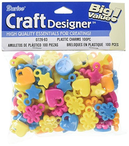 Charm Plastic (Darice 100 Piece Heart/Peace Stars Plastic Flower Charms)