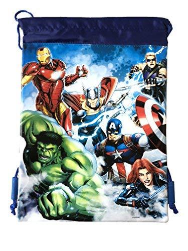 (Marvel Avengers Drawstring Backpack Sling Tote School Sport Gym Bag (Gold) (Avenger Blue))