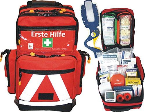 Erste Hilfe Notfallrucksack für Sportvereine, Event & Freizeit - Nylonmaterial mit weißen Reflexstreifen