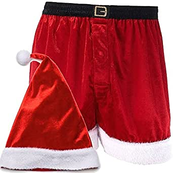 Mens Holiday and Christmas Santa Hat and Boxers Gift Set (Extra Large XL)