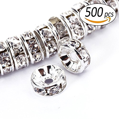 Rondelle Spacer Beads For Jewelery Making Plated Gold and Silver Colorful Wavy edge and Straight edge 8MM(Straight Silver) (Gold Plated Rondelle Crystal)