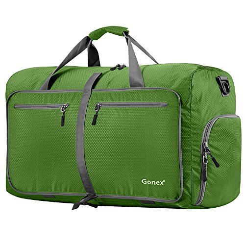 Gonex 80L Foldable Travel Duffel Bag for Luggage Gym Sports, Lightweight Travel Bag with Big Capacity, Water Resistant (Green)