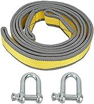 Kudoo Corda de reboque para carro, com ganchos em formato de U, design alargado e espesso, corda de reboque pa