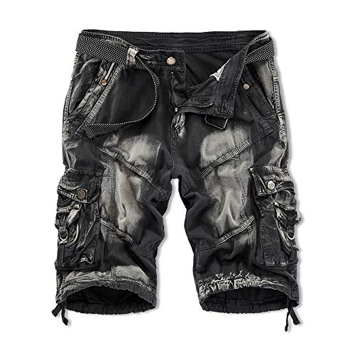 XIONG TAI Men's Cotton Straight Relaxed Fit Cargo Shorts Work Shorts with Belt Multi-Pocket Camouflage Outdoor Shorts (30, Black Light) (Short Belt)