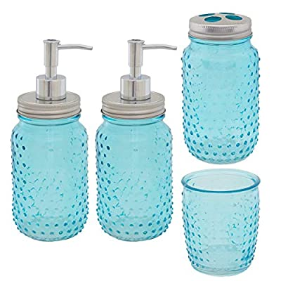 Circleware (4 Piece Mason Jars Bathroom Accessories Set Toothbrush Holder Lotion Soap Dispenser Cup - Practical mason jar style bathroom set with country charm, classic farmhouse decor; See-through aqua blue glass in hobnail pattern; Metal screw-on lids, chrome plastic pump parts, unscrew lids to use as drinking glasses (2) dispenser bottles, 1 hand soap dispenser, 1 lotion dispenser; (1) toothbrush holder with lid for 4 toothbrushes; (1) drinking glass for water in bathroom, bedside Boxed nicely for a gift, new home, remodeling; Safe: BPA, phthalate, & PVC free; made in China - bathroom-accessory-sets, bathroom-accessories, bathroom - 5137VW1m6rL. SS400  -