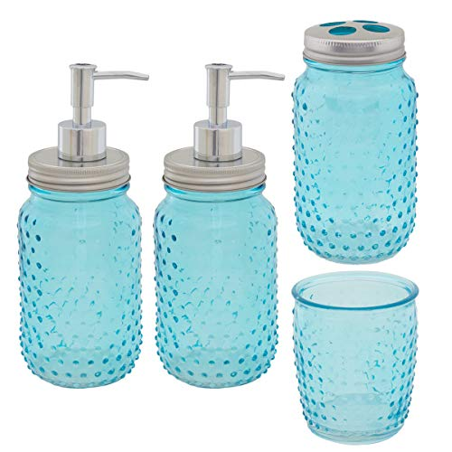 Circleware (4 Piece Mason Jar Hobnail Glass Bath Accessories Set Toothbrush Holder 2 Soap Dispensers Drinking Glass