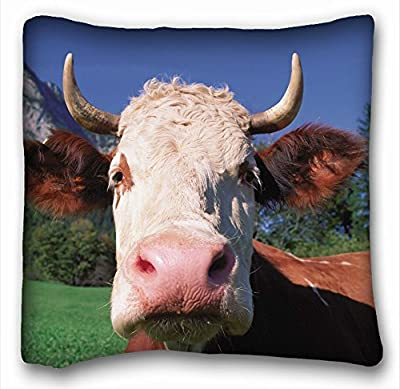 "Decorative Square Throw Pillow Case Animals cow face s horn close 18""*18"" Two Side"