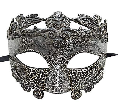 Mens Masquerade Mask Vintage Greek Roman Mask Venetian Party Mask Halloween Mardi Gras Mask (B Cracked)