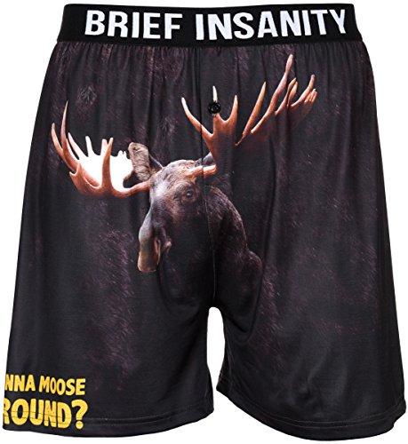 Men's Boxer Shorts Underwear by Brief Insanity Bear & Monkey & Donkey Designs (Large, BIBXR Wanna Moose Around?)