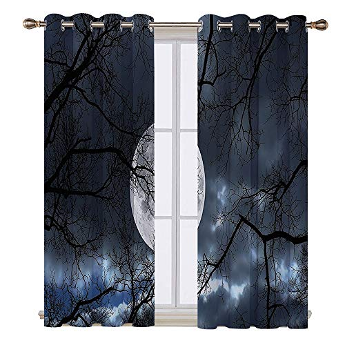 SATVSHOP Waterproof Window Curtain - 72W x 96L Inch- Blackout Draperies for Bedroom.Farm House Full Moon at Night in The for t Winter Time Mystical Dramatic Days Luna Photo Slate Blue Black.]()