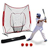 Rukket 7x7 Baseball and Softball Practice Hitting Net PRO Bundle with 3 Training Balls and Strike Zone