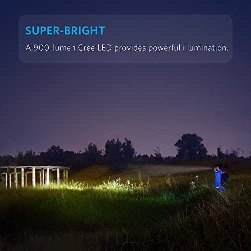 Anker AK-T1420011 Super Bright Tactical Flashlight, Rechargeable (18650 Battery Included), Zoomable IP65 Water-Resistant, 900 Lumens CREE LED, 5 Light Modes for Camping and Hiking, Bolder LC90 by Anker (Image #1)
