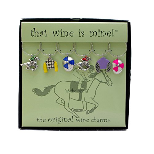 Wine Things WT-1520P At The At The Races, Painted Wine Charms, Fits neatly around stem, Multi-Color