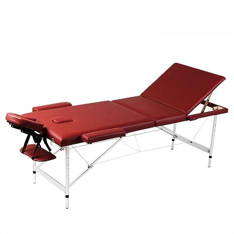 Lettino Massaggio Professionale Pieghevole.Lettino Pieghevole Da Massaggio Rosso 3 Zone Con Telaio Alluminio