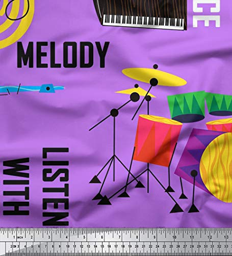 - Soimoi Purple Modal Satin Fabric Drumkits & Piano Musical Instrument Print Sewing Fabric BTY 42 Inch Wide