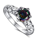 LeoBon Engagement Anniversary Party Rings for Women Rainbow Topaz 18K White Gold Plated Wedding Ring