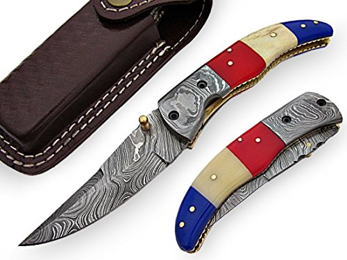 AishaTech Liberty Folding Knife Damascus steel blade and Bolsters Color Bone Handle