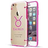 Apple iPhone Hybrid Slim Clear Hard TPU Bumper Case Cover Taurus Zodiac Horoscope Birth Sign (Hot Pink For iPhone 6 / 6s)