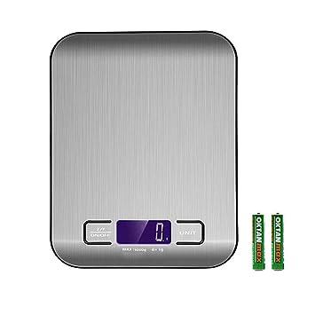 DKEyinx Báscula de Cocina Precisa 5 kg/1 g LCD Electrónica para Pesar Alimentos (con pilas AAA x 2), plástico ABS, Negro: Amazon.es: Hogar