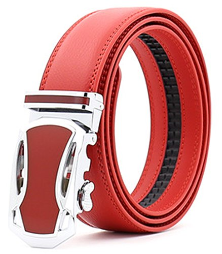Ayli Men's Dress Belt, Genuine Leather Ratchet Belt with Automatic Buckle, 54a Red, bt2a054rd -
