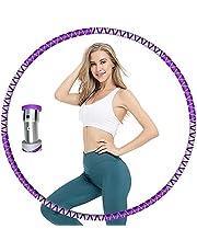 TATE GUARD Hula hoepel voor volwassenen en kinderen, 8 afneembare secties, fitnessbanden voor sport, gewicht instelbaar van 1 kg tot 3 kg, oefenband met roestvrijstalen buis