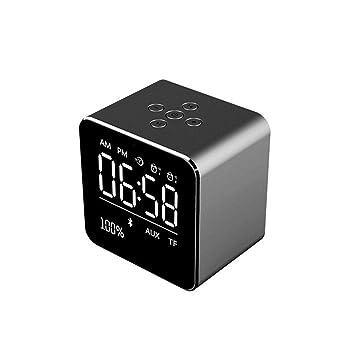 Radio Reloj Despertador, Altavoz Bluetooth inalámbrico portátil con Graves Profundos, Despertador Digital ,Posponer, Fácil de configurar, ...